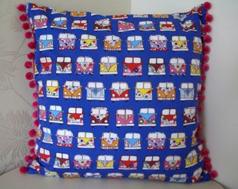 Camper Van Cushion Cover, Pillow in 100% cotton in wonderful bright colours with pompom trim.