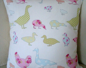 Shabby Chic Chickens and Ducks Easter Spring Cushion Cover, Pillow in 100% cotton in wonderful pastel colours with pompom trim.