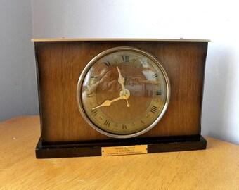 Vintage Clock - Smiths Tempora - Recycled Mantel Shelf Clock - 1960's Presentation Clock - British Rail Retirement Clock