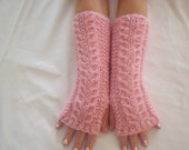 Pink Fingerless  Gloves. Knit. Alpaca.Hand/ Wrist  Warmers. Cabled.Winter. Warm. Woman. Bridemaids.Arm  warmers  Alpaca. Gift.