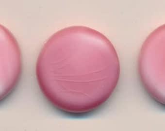 Six lovely vintage glass cabochons - soft matte pink wash - 20 mm