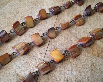 100cm BURNT SIENNA Brown Gemstone Necklace Chain 8mm Bead Antique Bronze Chain Jewelry Making Supplies