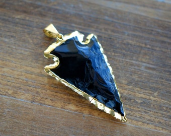 1 - REAL Obsidian Arrowhead Charm 24K GOLD Plated Edge Gemstone Bead Arrowhead Charm Indian Arrowhead Jewelry Making Supplies (AO029)