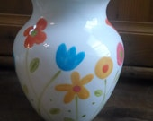 Hand Painted  Vase, Bright Flowers, Cute Vase, Support Adoption! love, Great Gift