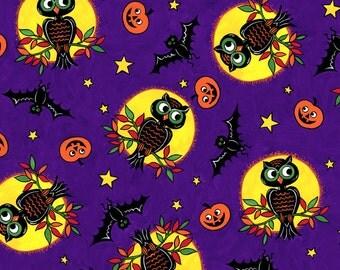 SALE- David Textiles - Halloween Nights - Owls and Pumpkins - Purple - Choose Your Cut 1/2 or Full Yard