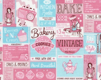 NEW - Timeless Treasures - Vintage Baking Aids - Pink - Novelty Fabric - Choose Your Cut 1/2 or Full Yard