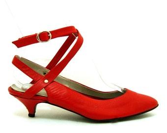 Vintage Red Leather Ankle Strap Kitten Heels 6 Vtg MARIA SANSANO Spain Shoes 6