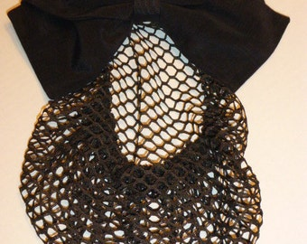 Vintage Eric Javitts Black Snood With Oversized Bow, Ca. 1980's