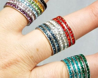 Rainbow 925 Eternity Bands - Multiple Choice, Mothers Day, Colorful 925 Sterling CZ Bands, Red-White-Blue 925 Band Rings in assorted Colors