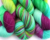 """Kettle Dyed Sock Yarn, Superwash Merino, Nylon and Silver Stellina Fingering Weight, in """"Belize"""""""
