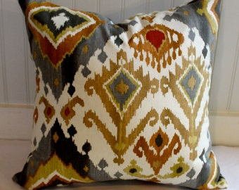 Grey, Gold, Rust and Ivory Ikat Pillow Cover / Designer Fabric