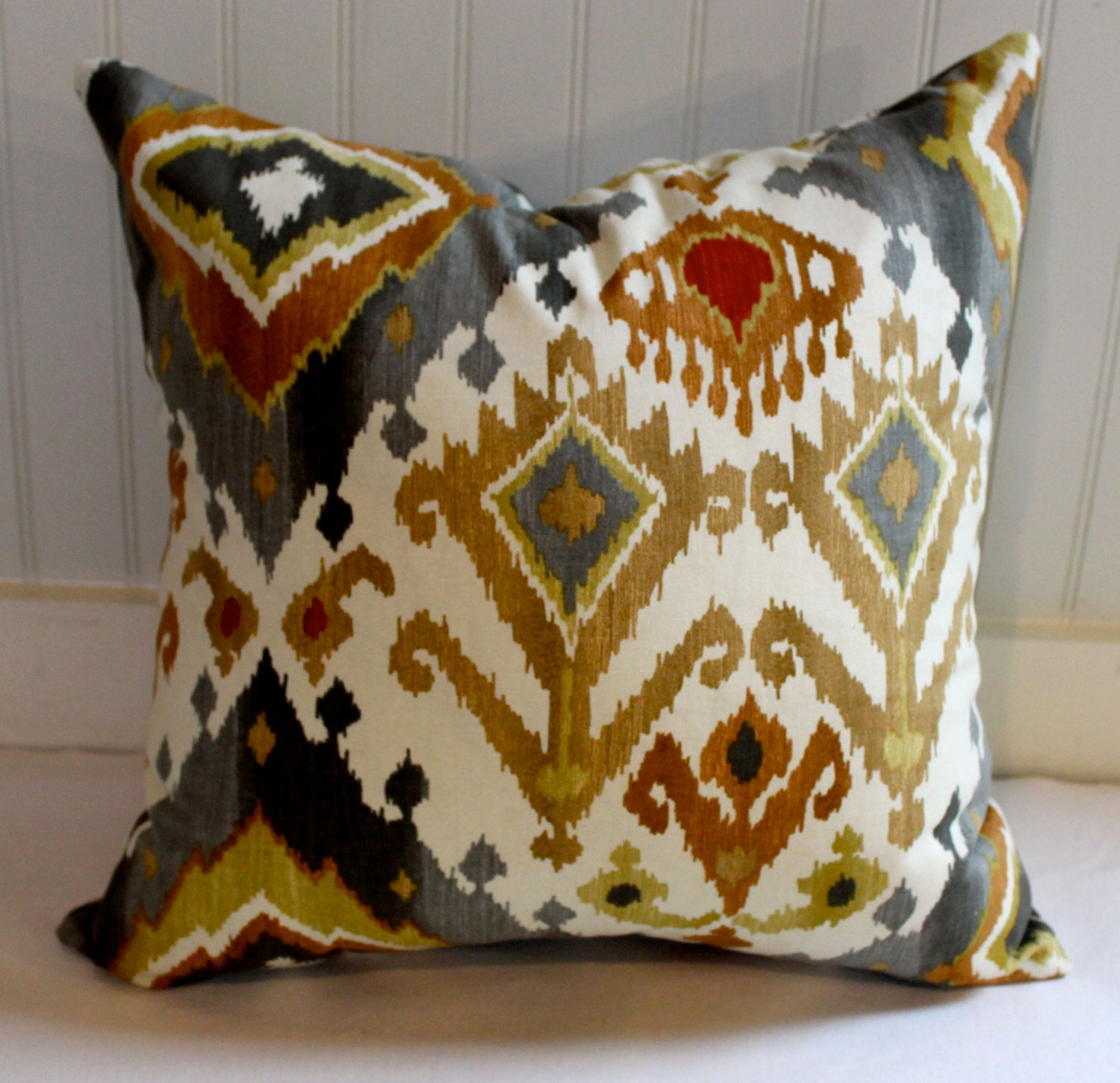 Grey Gold Rust And Ivory Ikat Pillow Cover Designer Fabric