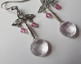 Gem Grade Rose Quartz Pink Topaz and Sterling Silver Earrings