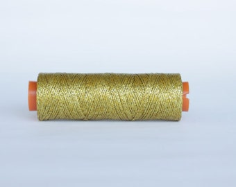 1 spool waxed cord, 100 yards waxed cord, shiny gold, Waxed polyester cord, waxed thread, knotting cord, silver beading cord