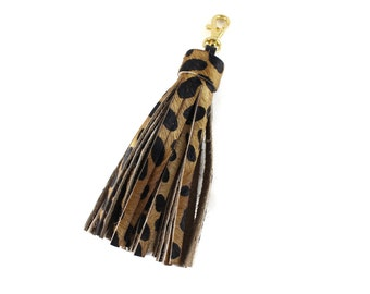 Large Calf Hair Tassel | Cheetah | Leopard | Animal Print | Handbag Accessory | Hair On | Spotted | Keychain | Keyfob | Handmade