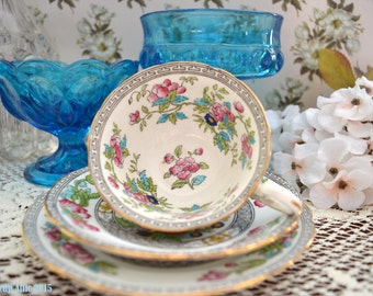 Antique Aynsley Indian Tree Teacup and Saucer Trio, English Bone China Tea Cup Trio, Bread And Butter Plate,  ca. 1905-1925