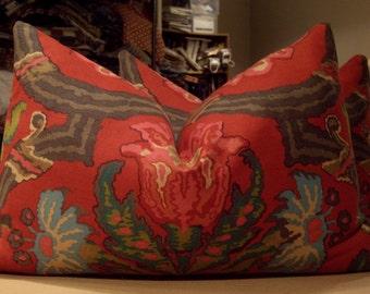 """Ralph Lauren Red """"CADIZ FLORAL"""" Linen Cotton Print Custom Bolster Pillows Pair - Ralph Lauren English Wool Back - 15"""" by 23"""""""