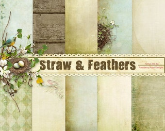 Straw and Feathers 2 Paper Set