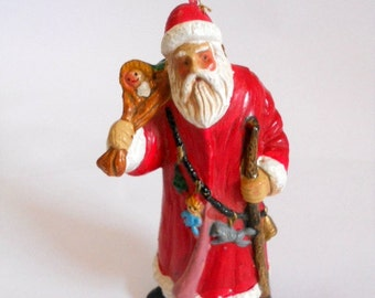 Vintage Santa Claus Ornament Paper Mache Santa Christmas Tree Decor Kris Kringle