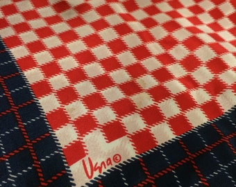 Vintage Vera Scarf Red, White and Blue Vera Neumann Scarf Small Vera Signature  Large Square Scarf Checkerboard Pattern