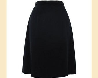 Vintage 90s black A-line skirt in matte fabric by Whistles, UK size 14