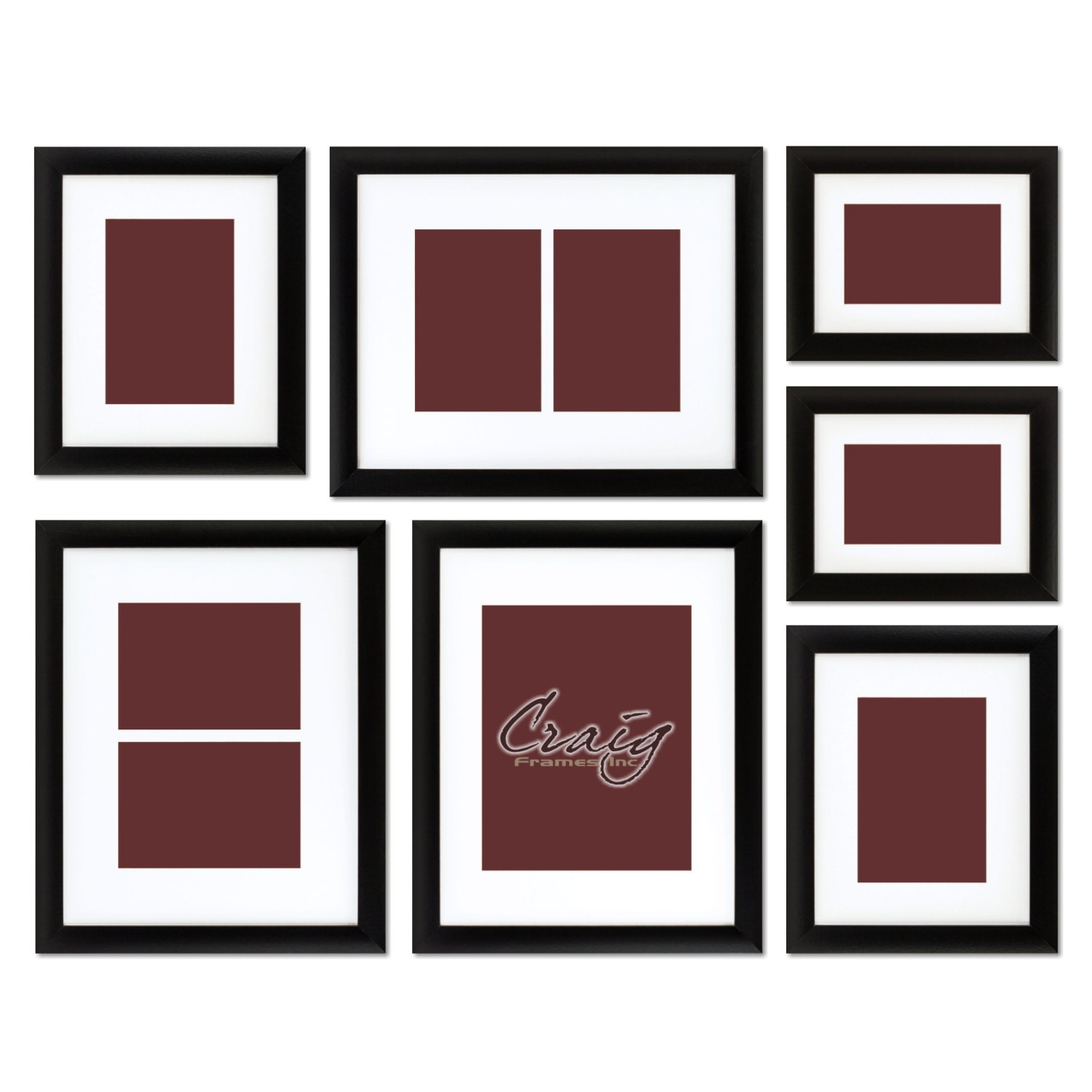 Craig Frames 7 Piece Black Picture Frame Set White Display