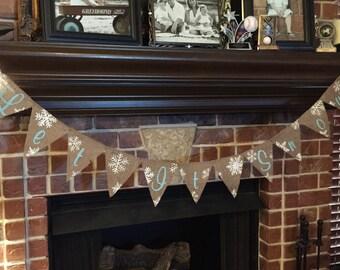 LET IT SNOW / Burlap Banner / Bunting / Home Decor / Winter Decoration / Handmade / Decoration