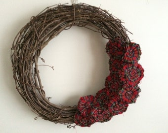 Red Plaid Fabric Flowers, Removable Wreath Attachment, Fall Wreath, Winter Wreath, Christmas Wreath