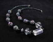 Hand beaded necklace, lampwork bead necklace, hand beaded jewelry, black, grey, and clear lampwork hand beaded necklace
