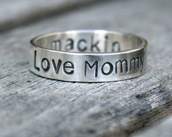 Personalized Sterling Silver Ring - Custom Message Band