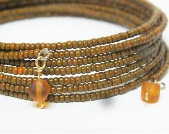 Sleek  Memory Wire Bracelet Rust Orange Browns Caramel rustic colors