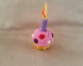 Reserved - Needle Felted Cupcake - Birthday Candle