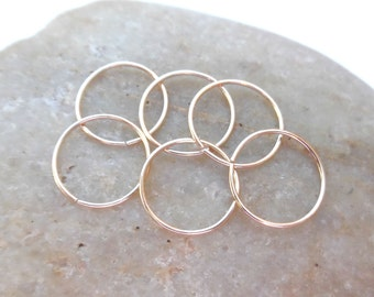 24 Gauge Helix Piercing Hoops, Set of Six Thin Cartilage Hoop Earrings, 14K Gold Filled, Ear Hugging Hoops, Yellow Gold Hoops