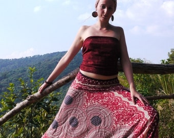 Thai Harem Pants in Cotton, Flowers & Circles Red, Pink, White -- Aladdin Pants -- Drop Crotch Style