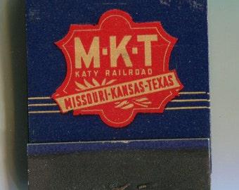 MKT Katy Railroad Matchbook Missouri Kansas Texas Lines 1940s mint full book rare Train memorabilia RR