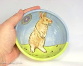 Sky Blue and Spring Green Bunny Bowl