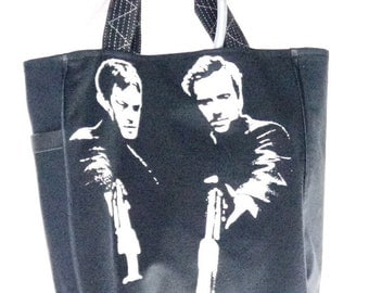 Boondock Saints Tee Shirt Upcycle into Fun Tote Bag Again Black Heavyweight Carry All Tote