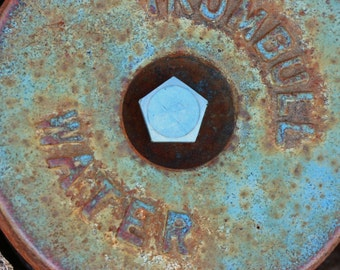 Urban chic water cap cover photography, abstract, graphic, turquoise, textured, city grit, street art,round