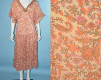 Vintage Sheer Bohemian Floral Gypsy Maxi Dress + Beaded Deep-V Neck/ Hippie Indian Textile Pattern Flutter Sleeves Festival Dress SZ M
