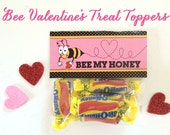 Class Valentine, Printable Bee My Honey Valentine Treat Toppers and Valentine's Card INSTANT DOWNLOAD