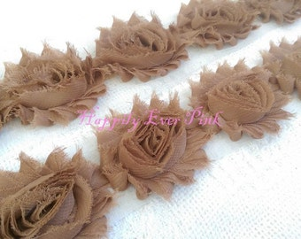 1 YaRd, Toasted Marshmallow Shabby Flower Trim, Wholesale Flowers, DIY, Chiffon Rosettes, Headband Flower, Wholesale, Fraying Rosettes
