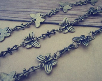 3ft Antique Bronze Butterfly Metal Chain Fancy Tibetan Chain Necklace 9mmx14mm
