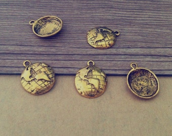 10pcs Antique gold globe Charm Pendant  15mm