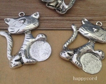 2pcs of antique silver cat Charms pendant 43mmx57mm