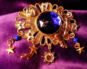 Upcycled Celestial Pin/Pendant Combination .Royal Blue Vintage Stone.