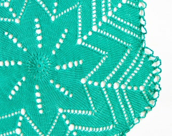 Mint Green knitted Vintage Doily Easter table decor