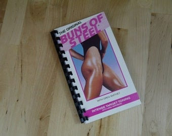 Handmade Buns of Steel Work Out Exercise Video 1987 Re-purposed VHS Cover Notebook Journal