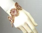 Women Cuff Bracelet. Unique Hand made design. Button flower crochet cuff bracelet.