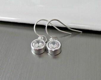 Gorgeous CZ Diamond Earrings in Sterling Silver Bezels - Tiny - Dainty - Elegant