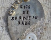 Kiss My Southern Sass Hand Stamped Vintage Spoon Necklace with 12 GA and Jack Daniels Charm